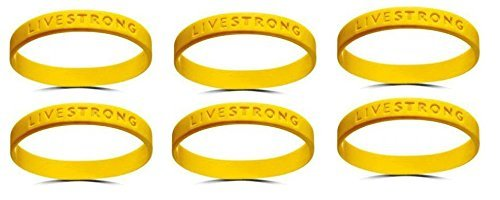 (Lot of 6 for One Price) Official Live Strong Lance Armstrong Yellow Cancer Livestrong Rubber Wristband Bracelet Youth Size