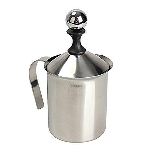 PIXNOR 400ml espumador de leche acero inoxidable doble malla leche jarra para leche y hacer espuma