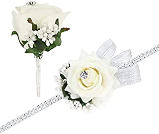 FAYBOX Wedding Prom Velvet Rose Rhinestone Corsage and Boutonniere Set with Silvery Ribbon Stretch Bracelet (Ivory)