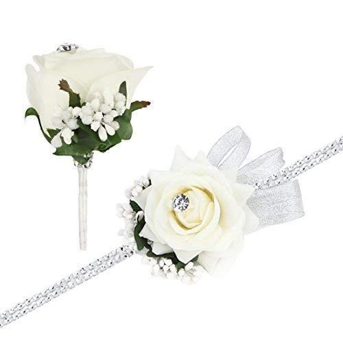 FAYBOX Boda Prom Rosa de Terciopelo de Diamante corsé y Boutonniere Juego con Lazo Plateado elástico Pulsera