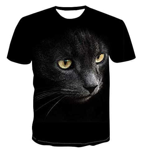 Camiseta 3D para Hombre con Estampado Casual Verano Otoño Camiseta para Adultos Sudadera De Manga Corta Abrigo Superior,Gato Negro,XXXL