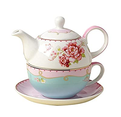 Jusalpha Fine Bone China Teapot for One, Rose Teapot and Saucer Set- Tea Cup with Saucer Set, Pink Roses (FL Tea for One 02)