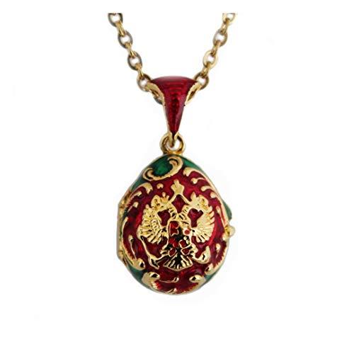 Anhänger Stil Faberge Eier Fabergé Style Egg Pendant Wappen Russlands Rote und grüne Öffnung am Herzen, Swarovski-Kristalle und Kette OE29