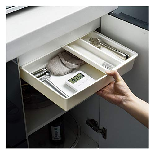 ORHA 2 Stück versteckte Schublade Aufbewahrungsbox unter dem Schreibtisch Schublade keine Perforation Tisch Schreibtisch Schublade Organizer Boden Aufbewahrung für Büro Küche Arbeitszimmer (Größe L)