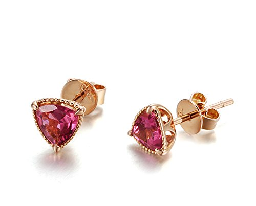 Daesar Orecchini In Oro Rosa Orecchini a Bottone In Oro 18 Carati per Donna Orecchini a Triangolo Con Diamanti In Oro Rosa
