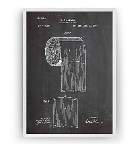 Toilettenpapierrolle 1891 Patent Poster - Toilet Paper Roll Holder Drunken Print Jahrgang Bad Badezimmer Poster Toilette WC Art Zeichnungen Kunst Geschenke - Rahmen nicht enthalten