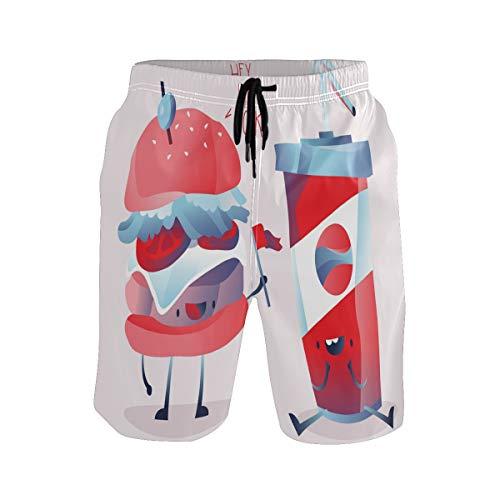 Bonipe Herren-Badehose mit lustigem Cartoon-Motiv, Hamburger, Cola, schnell trocknend, Boardshorts mit Kordelzug und Taschen Gr. S 7-9, mehrfarbig