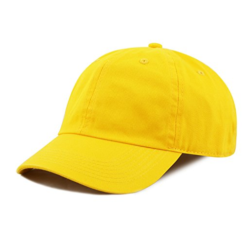 The Hat Depot Kids Washed Low Profile Cotton and Denim Baseball Cap (Yellow)