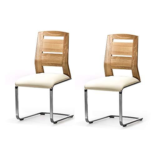 Alkove - Hayes - Set de 2 sillas moderna de madera maciza con asiento tapizado (roble salvaje)