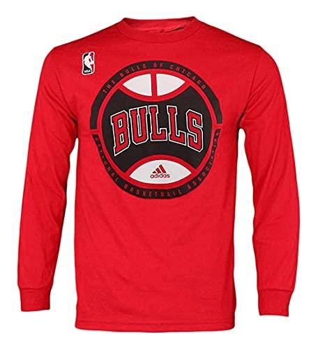 adidas NBA - Camiseta de manga larga para hombre, con gráficos, Atlético, XL, Chicago Bulls - Red #3