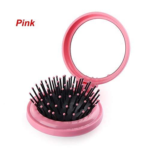 ZZYUBB 1 Pcs avec La Brosse Pliant Cheveux Miroir De Poche Compact Taille Voyage Peigne Miroir Cosmétique De Beauté Outils Peigne (Color : Pink)