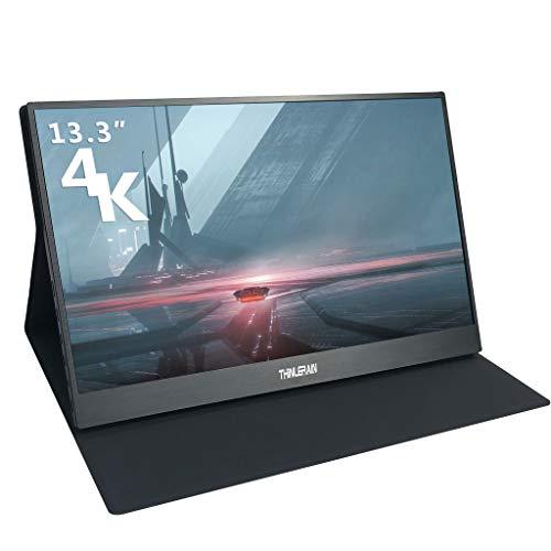 Thinlerain 13.3 Pulgadas 3K Monitor portátil HDMI 3200x1800 Pantalla IPS Monitor móvil Suministro USB C Altavoz Incorporado para computadora portátil PS3 / PS4 / X Box/Raspberry Pi/teléfono móvil