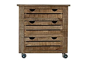 """SIT-Möbel 2562-01 Rollcontainer """"Frigo"""", 45 x 65 x 62 cm, Mango-Holz massiv, mit Kühlschrankgriffen, natur lackiert"""