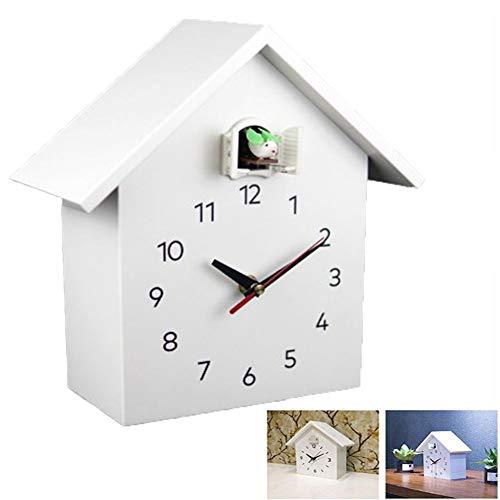 RANRANHOME Kuckucksuhr Fenster, Kleine Moderne Kuckucksuhr Natürliche Vogelstimmen, Wanduhr Art Home Wohnzimmer Küche Büro Dekor Dekoration (26,8 X 25,5 cm),Weiß