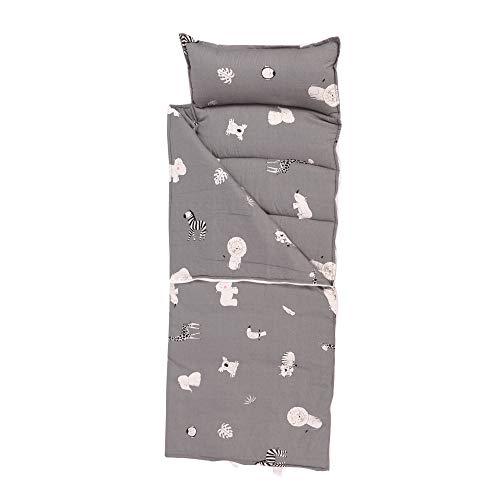HB.YE Baby Schlafunterlage Kinder Schlafsack mit Reißverschluss und Kissen Kindergarten Steppdecke Deckenschlafsack oder Mumienschlafsack Mittagspause Sommer Coole Steppdecke Cartoon Tier (Grau)