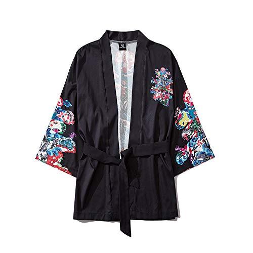 HENGX Yukata Kimonos Cardigan Unisex,Abito Giapponese Yukata con Lacci per Uomo E Donna Kimono Stampato Giapponese Giacca Casual Allentata,Black-M