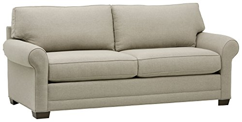 Amazon Brand – Stone & Beam Kristin Round Arm Performance Fabric Loveseat Sofa Couch, 88'W, Stone
