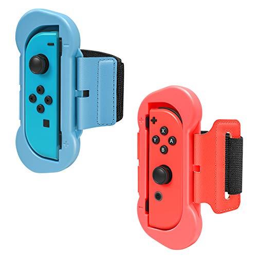 FYOUNG Armband Kompatibel mit Just Dance 2021 2020 Switch & OLED-Modell, Einstellbare Elastische Handgelenksband für Adult Kids Kompatibel mit Zumba Switch Wristbands Zubehör(2 Pack) - Blau/Rot