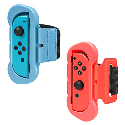 FYOUNG Armband für Just Dance 2021 2020 2019 Switch and Zumba it up Switch, 2er-Pack Einstellbare Elastische Joy Con Armbinden Handgelenksband Tanzgriff Grips - Blau/Rot