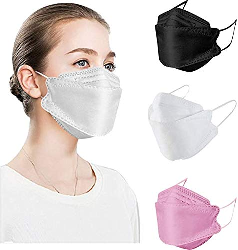 30Pcs Black KF94 Face Mẵsk,4 Layers Non-woven Face Protection Covering,Adult, Certified Coronàvịrụ (30Pcs Black+White+Pink)