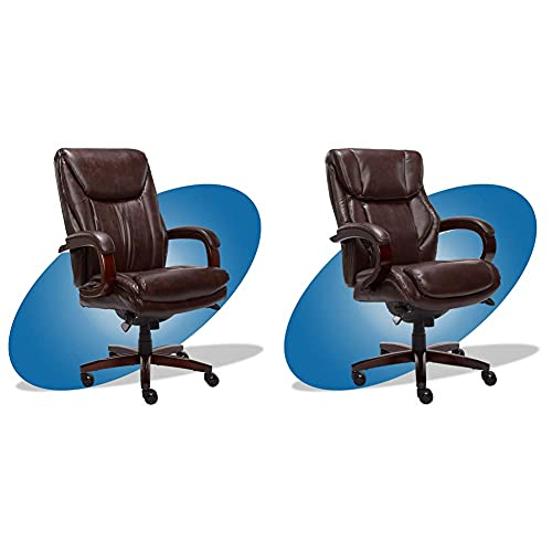 La-Z-Boy Edmonton Big and Tall Executive Office Chair with Comfort Core Cushions, Brown & Bellamy Bonded Leather Executive Office Chair with Memory Foam Cushions, Brown