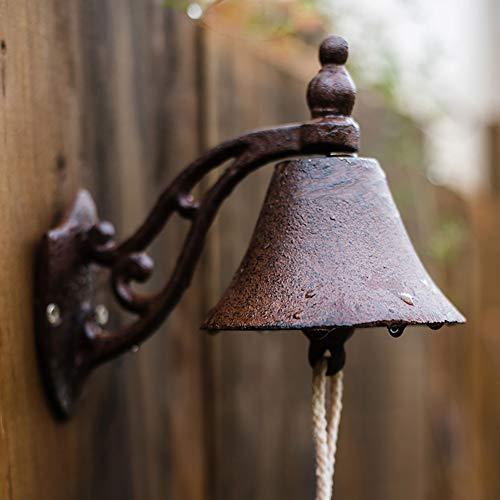 Campana para Puerta De Entrada Hierro Fundido Bell Porte Fonte Timbre De La Pared Campana De La Mano Campana Puerta Balcón Jardín Decoración del Hogar