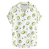 Hawaiian Shirt for Men Funny Avocado Printed Turn Down Collar Short Sleeve Button up Casual T-Shirts Tops Blouse