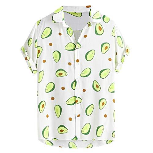 Xmiral Herren Shirt Kurzarm Revers Farbblock Gedruckt Knopf Lässig Top Strand Urlaub T-Shirt Sommer Dünn Atmungsaktiv Hemd(h Weiß,XL)