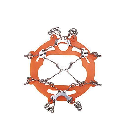 ZHENN 8 Zähne Steigeisen Riemen Typ Multifunktionale Anti-Ski Kette Edelstahl Kette, geeignet für Winter Walking, Wandern, Bergsteigen, Outdoor Klettern L Schwarz