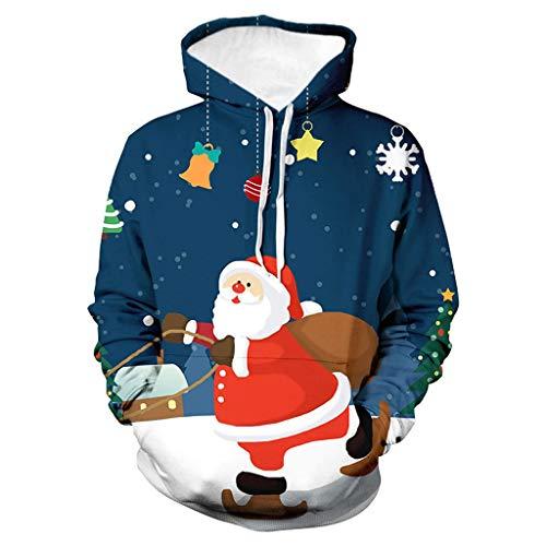 KPILP Herren Weihnachten Kapuzenpullover Damen Herbst Winter 3D Druck Sweatshirt Langarm Streetwear Freizeit Jumper Hoodie Unisex Männer Pullover