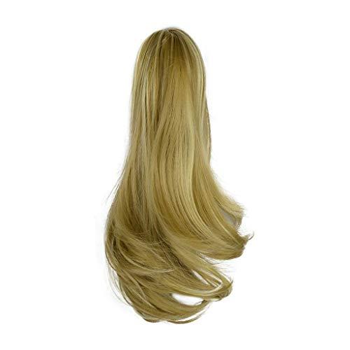 Perruques Y Dwayne 15 Pouces torsadé Ponytail Long Clip synthétique Bleach Piece Hair (Color : Light Ash Brown+Bleach Blonde)