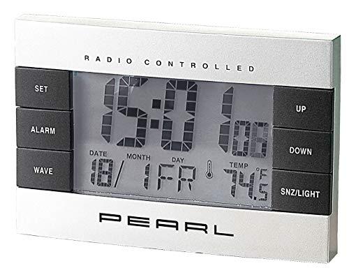 PEARL Funkuhr mit Thermometer: Digitaler Funkwecker mit Temperaturanzeige und Kalender (Wecker mit Temperaturanzeige)