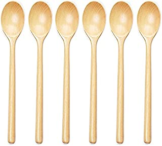 KU Syang Wooden Spoons for Eating,Small Wooden Spoon for Mixing Tasting Serving Cooking, 6-Piece Wooden Kitchen Utensils