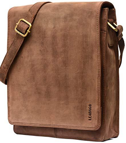 LEABAGS London Leder-Umhängetasche I Laptoptasche bis 13 Zoll I Messenger Bag aus echtem Büffel-Leder im Vintage Look I Schultertasche I Arbeitstasche I 26x8x31cm (Fallow)