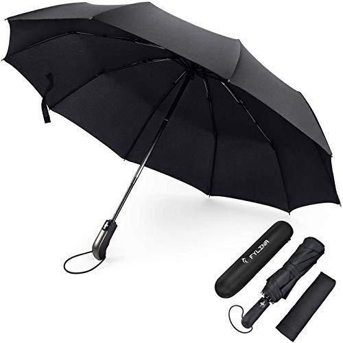 FYLINA Regenschirm Sturmfest bis 140 km/h Umbrella Schirme Winddicht Kompakt Klein Stabiler Schirm Auf-Zu-Automatik Umbrella Transportabel Taschenschirm Reiseschirm Geschenktüte Trockenbeutel