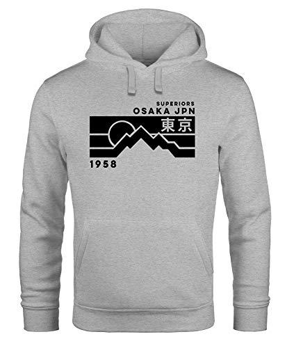 Neverless® Hoodie Herren Aufdruck Osaka JPN japanische Schriftzeichen Fashion Print Kapuzen-Pullover Männer grau XL