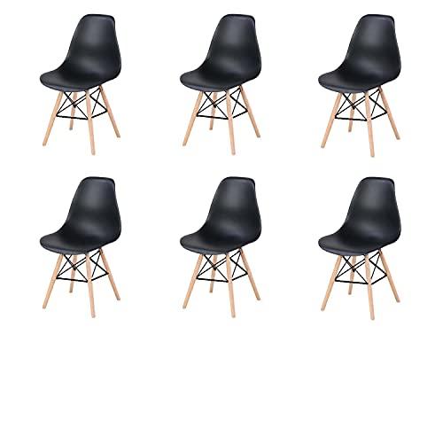 WV LeisureMaster Set da 6 pezzi di sedia da pranzo con scocca in plastica nera scandinava Wiener, gambe in rovere, adatta per cucina, soggiorno e camera da letto