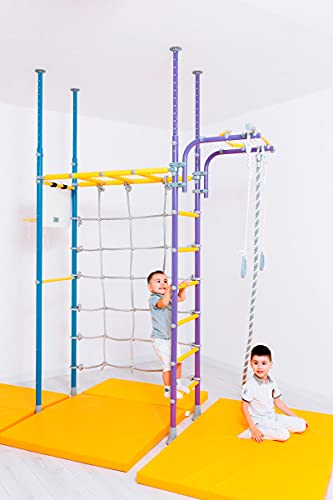 Metall-Wandstangen für Kinder, Pegas, schwedische Leiter, druckmontiert, Klimmzugstange, Kletternetz, mehrfarbig