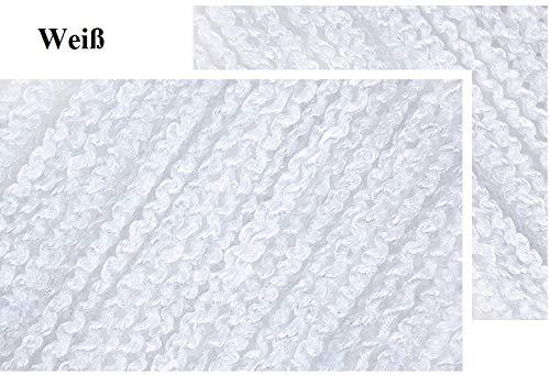 FKL Fadenvorhang Fadengardine Türvorhang Fadengardine lockig 100x200 / 300x250 cm (Weiß, 300 x 235 cm)