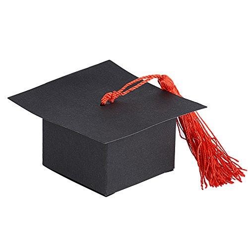 50pcs Cajas de Graduación Gorro (4.9*4.9*3.3cm) Caramelos Dulces Chocolates Regalo Pequeño Confeti Boda Fiesta Ceremonia (Borla roja)