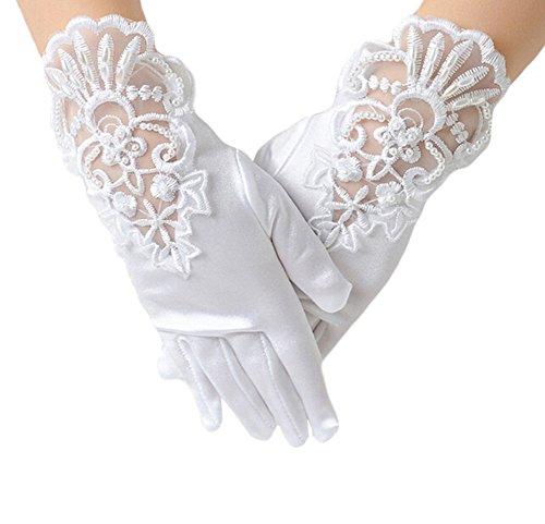 Kentop 1 par de guantes cortos, diseño de flores caladas, seda para boda, color blanco, talla L