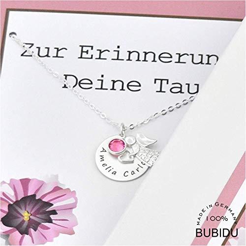 Taufkette 925 Silber mit Engel Kinderkette ❤️ Engelkette Schutzengel Geburtsstein ❤️ personalisierte Geschenk Schachtel Geburt Engelschmuck | HANDMADE IN GERMANY