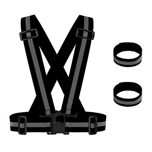 Maotrade 1 STK.Reflektorweste Verstellbare Warnwesten Auto Elastizität Sicherheitsweste Fahrrad und 2 STK.Reflektorband für Kind Männer und Frauen Erwachsene Joggen,Motorrad,Laufen und Spazieren gehen