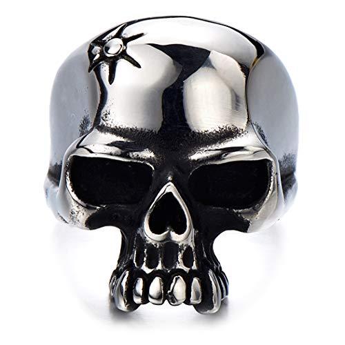 H+C Estilo Gótico- Anillo de Hombre- Cráneo- Calavera- Acero Inoxidable- Biker- Oxidado Negro(11)