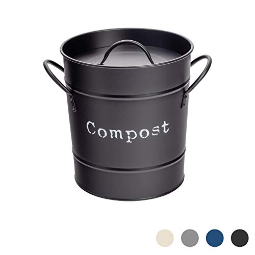 Great Deal! Harbour Housewares Industrial Compost Bin - Vintage Style Steel Kitchen Storage Bucket -...
