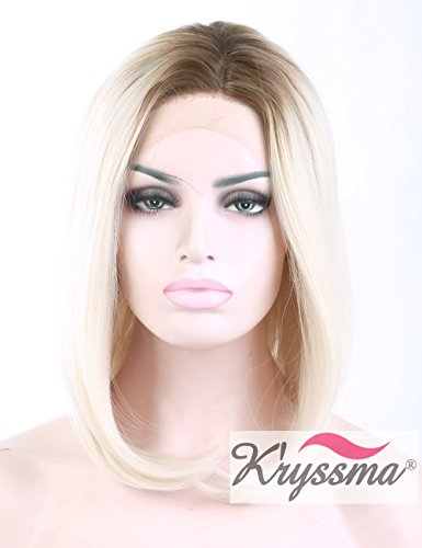 K'ryssma Blonde Bob Prücke Women's Natural Looking Short Bob Wigs Ombre Dark Roots Soft Snythetic Hair Best Lace Front Wigs Heat Resistant Fiber