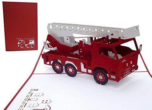 LIN17323, Pop Up Karte Feuerwehrauto, Geburtstagskarte, Grußkarte Feuerwehr, Feuerwehrkarte, 3D Karte Feuerwehr, Löschzug - Gutschein, Geburtstagskarte Feuerwehrauto, N216