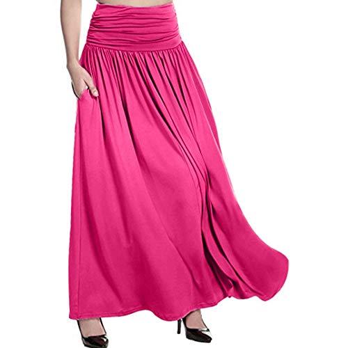 GNEHSL Frauenröcke,Maxi Röcke Mit Gummizug, Frauen Plus Size Fashion Hohe Taille Langen Rock, Sommer Lässig Swing Gipsy Rock Pink, S