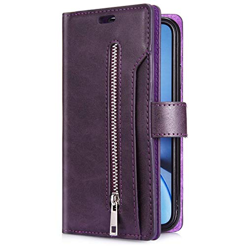 Uposao Kompatibel mit Samsung Galaxy A21 Hülle Leder Flip Schutzhülle Multifunktional Reißverschluss 9 Kartenfächer Handyhülle Brieftasche Wallet Case Handytasche Magnetisch,Lila