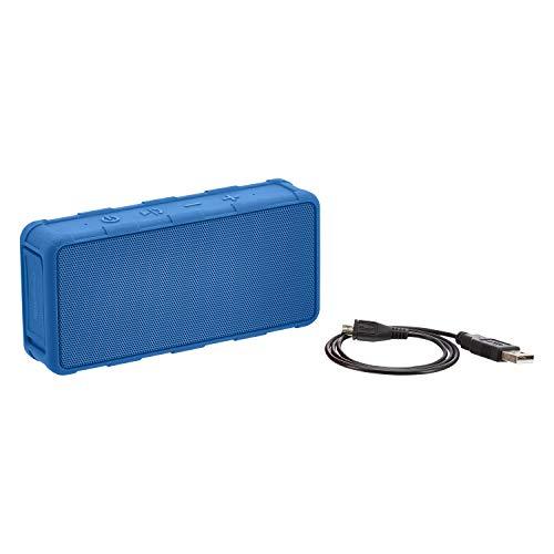 Amazon Basics - Altavoz portátil impermeable con Bluetooth para exterior, IPX5, 5W, azul